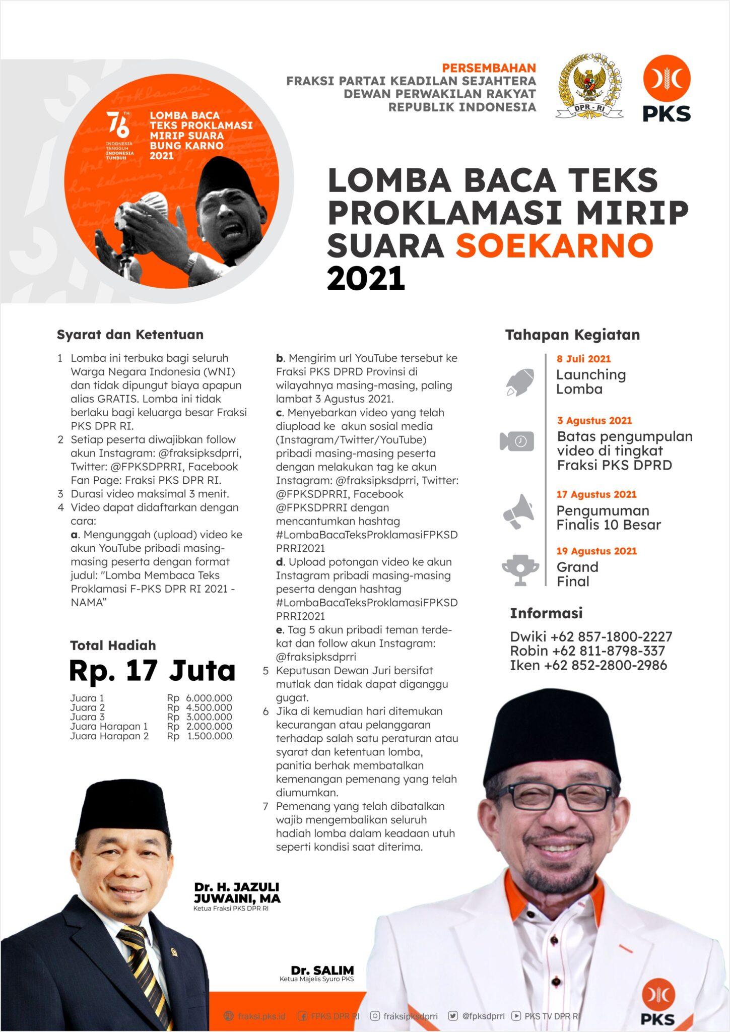 Lomba Baca Teks Proklamasi Mirip Suara Soekarno Berhadiah Uang Tunai Total 17 Juta Rupiah oleh PKS