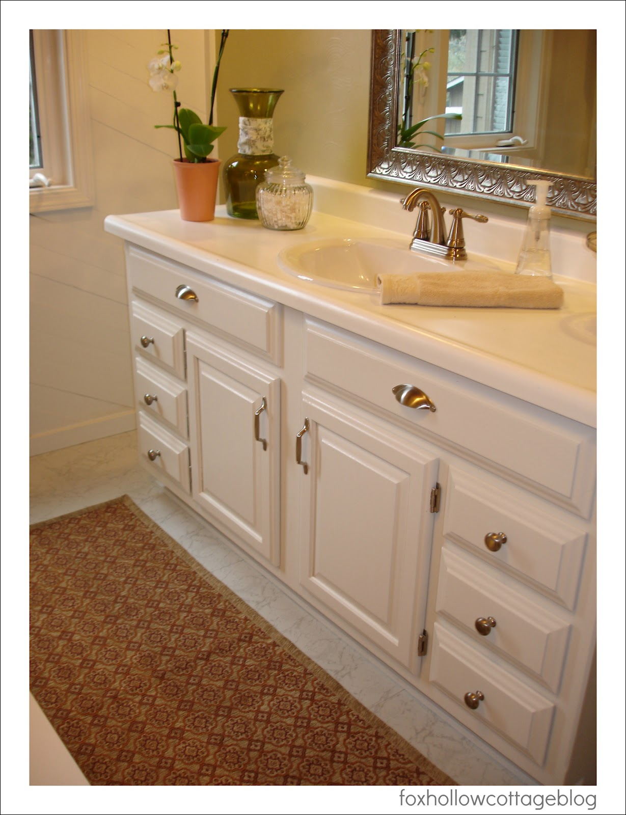 painting a bathroom vanity white a budget bathroom makeover fox hollow cottage 23930