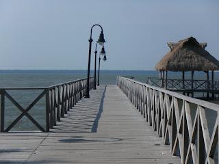 wooden bridge into the lagoon