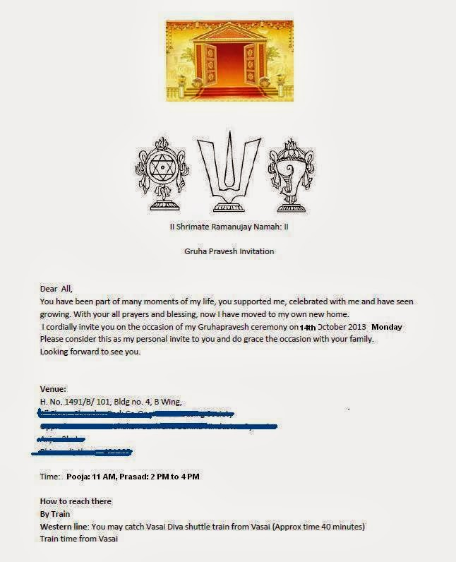 Format For Gruha Pravesh House Waming Invitation