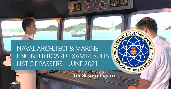 FULL RESULTS: June 2021 Naval Architect, Marine Engineer