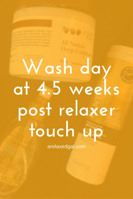 I'm now 4.5 weeks post my last relaxer touch up and I'm sharing the products I'm using on my relaxed hair and why I sometimes wash my hair in braids. | arelaxedgal.com
