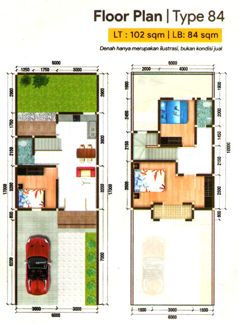 Floor Plan Tipe 84 Rumah Murah Dekat Lottemart Gatot Subroto Medan Diskon 50 JUTA Hanya 11 Unit di D'Grand Gatsu