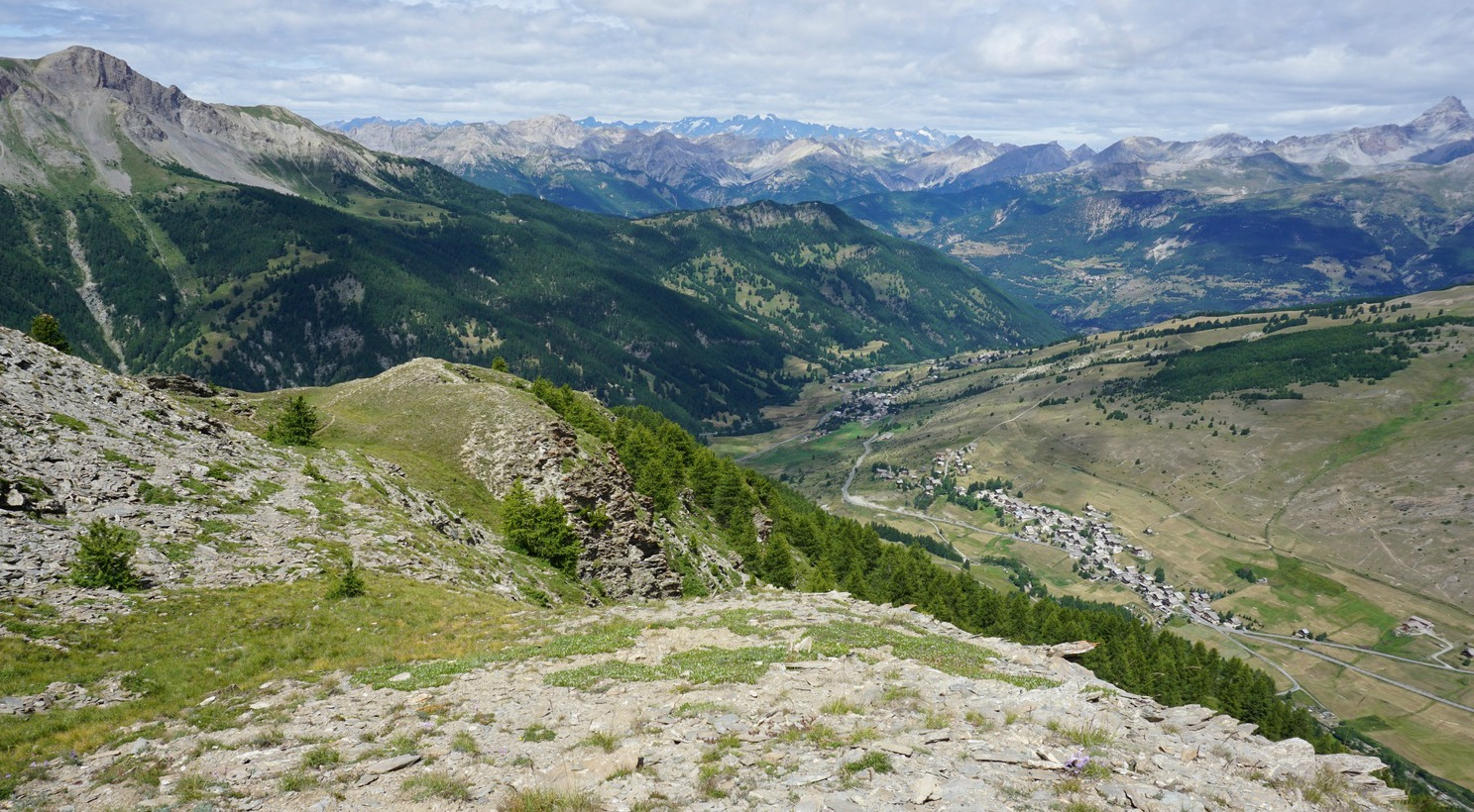 Molines en Queyras and Pierre Grosse seen from Beauregard