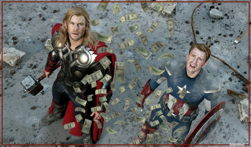 photo-illustration of Chris Helmsworth as Thor and Chris Evans as Captain America looking up as cash rains down on them