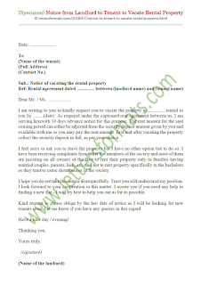 sample letter notice to tenant to vacate rental property