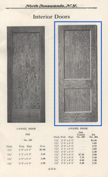 Bennett Homes building supplies 1925 catalog showing interior doors , 2-panel door