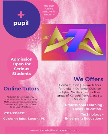 Abdullah Tutors Academy offering Home Tuition for Urdu in Gulberg Town, Ancholi, Karachi