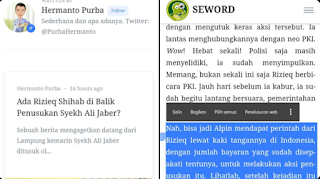 Ngeri, Seword Terbitkan Narasi HRS yang Membayar Alfin untuk Menusuk Syekh Ali Jaber