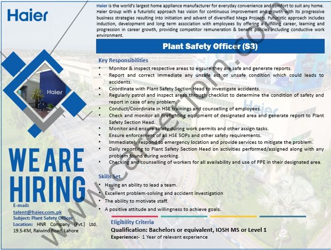 Haier Pakistan Jobs Plant Safety Officer