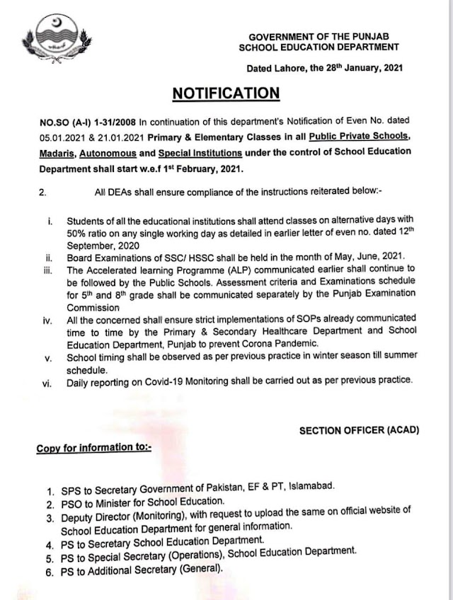 STARTING OF PRIMARY AND ELEMENTARY CLASSES IN ALL PUBLIC / PRIVATE SCHOOLS / MADARIS / AUTONOMOUS AND SPECIAL INSTITUTIONS