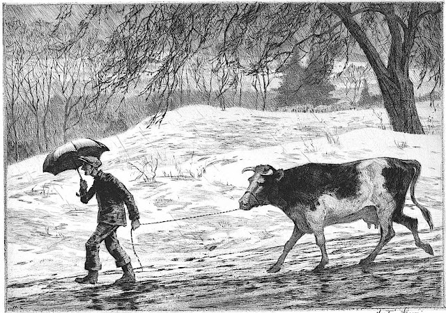 a Martin Lewis print 1934, a man leading a cow on a wet winter road