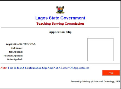 Lagos State Teachers Recruitment Form 2019/2020 | TESCOM & SUBEB