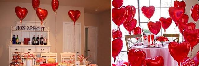 decoracao-para-os-dias-dos-namorados-com-baloes-de-coracao-decoração-de-mesa