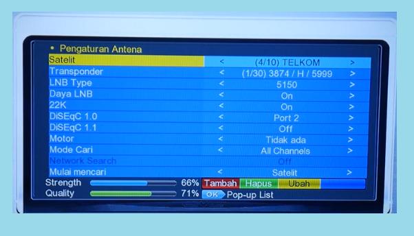 Frekuensi SCTV INDOSIAR dan TV ONE di Nex parabola