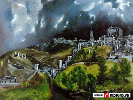 """Toàn cảnh Toledo là một trong hai bức tranh phong cảnh còn sót lại của El  Greco. Cùng với bức """"Đêm đầy sao"""" của Vincent van Gogh, một số tranh phong  cảnh ..."""