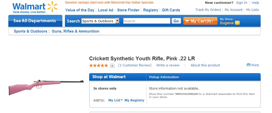 I sold guns and ammo at Wal-mart  Rage was free