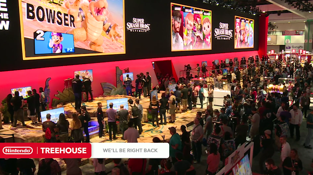Nintendo E3 2018 booth Super Smash Bros. Ultimate Bowser Mario packed with people