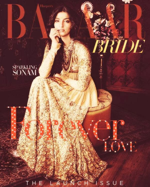 Sonam on the cover of Harper's Bazaar Bride