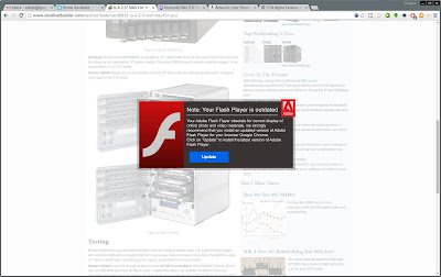 This screenshot shows a Chromium web browser showing a web page with a mandatory flash update over a bright overlay.
