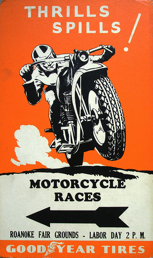 Motorcycle Races, Goodyear Tires - Vintage Poster, advertising, classic posters, free download, free posters, free printable, graphic design, motorcycle, printables, racing, retro prints, sports, vintage, vintage posters, vintage printables,