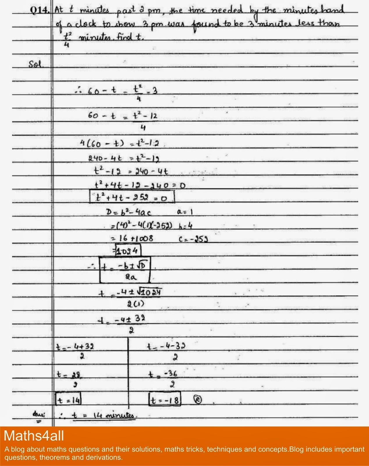 Class X Important Questions of Quadratic Equations Word
