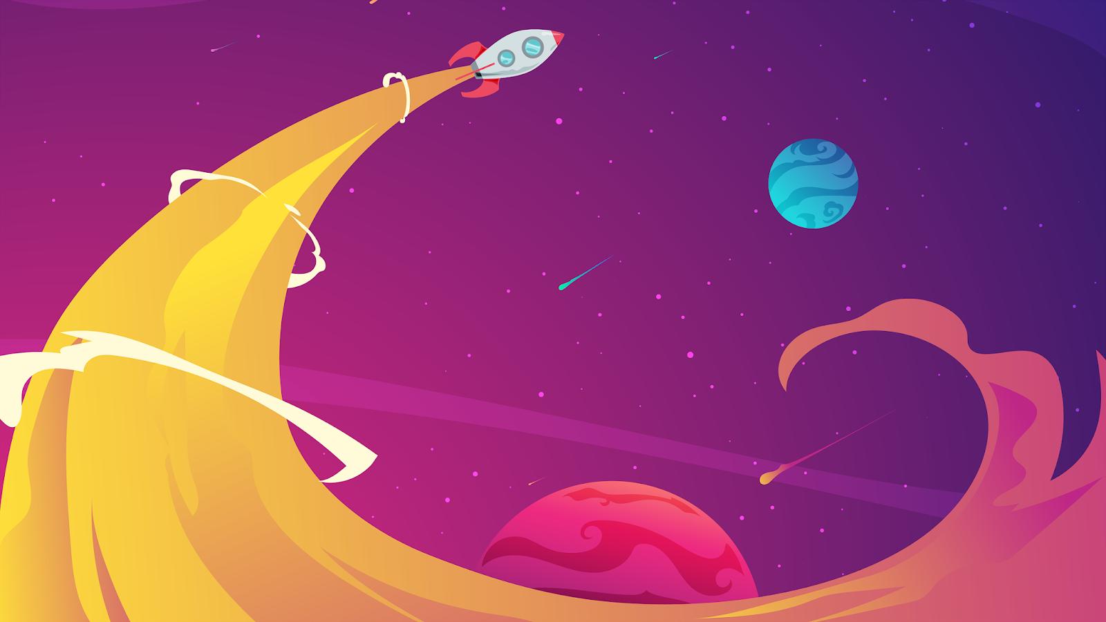 A illustration of a rocket launch in 4K Wallpaper for desktop 4k monitor