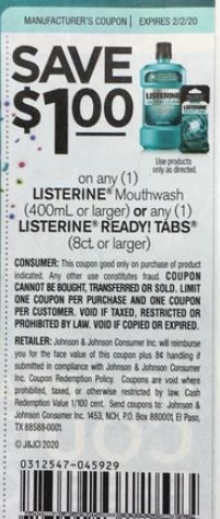 Listerine Mouthwash or Ready! Tabs coupon