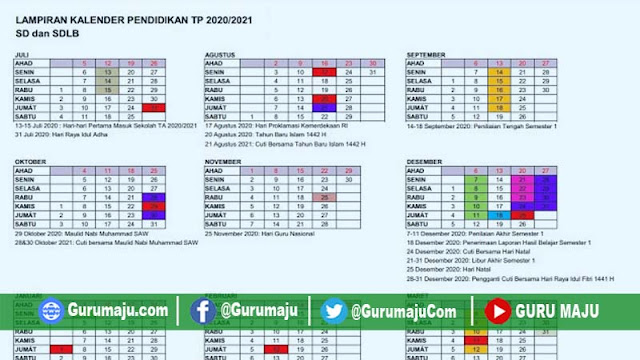 Kalender Pendidikan 2020/2021 Provinsi DIY ( Yogyakarta ) RESMI