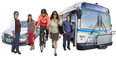 Photo-montage clipart of people traveling. Left to right, two women standing in front of a car, a helmeted woman pedaling a bicycle, a woman walking while carrying a shoulder bag and a man with shoulder bag standing at the entrance to a bus