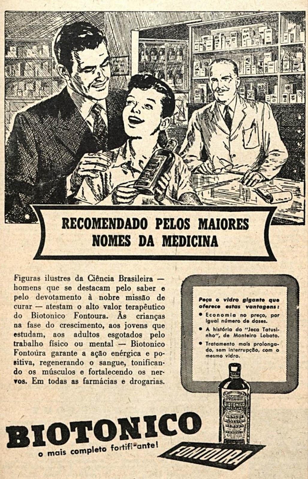 Propaganda antiga do Biotônico Fontoura veiculada em 1954 com recomendação de médicos