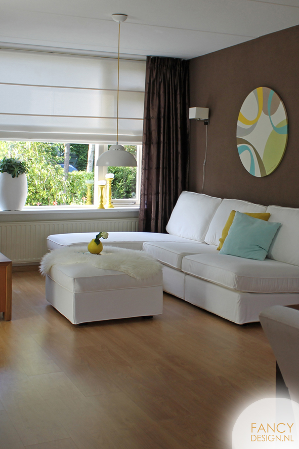 Woonkamerwoonkamer bruin interieur meubilair idee n for Bruin grijs interieur
