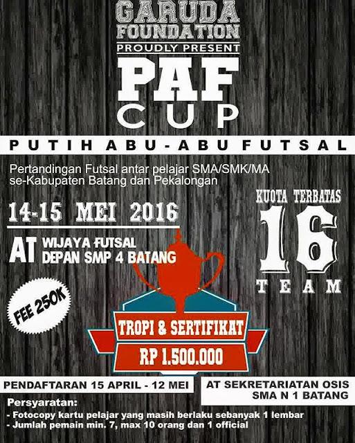 Event: Batang-Pekalongan | 14- 15 Mei 2016 | Garuda Foundation | Kompetisi Putih Abu-Abu Futsal 2016