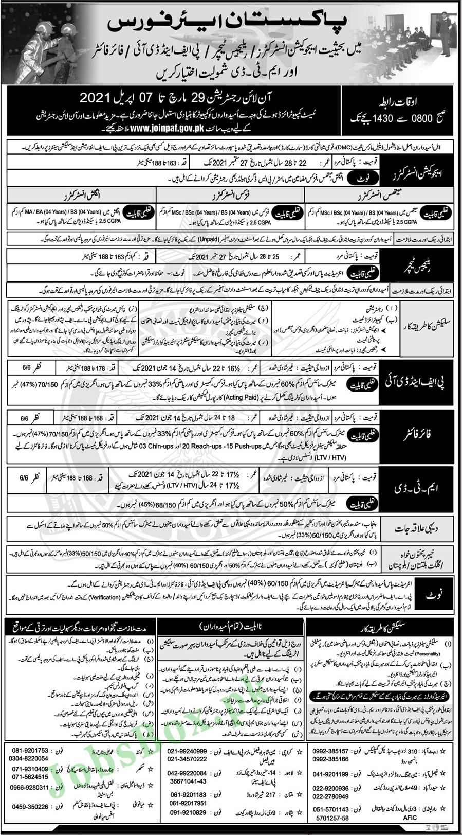 Pakistan Air Force Jobs 2021 advertisement