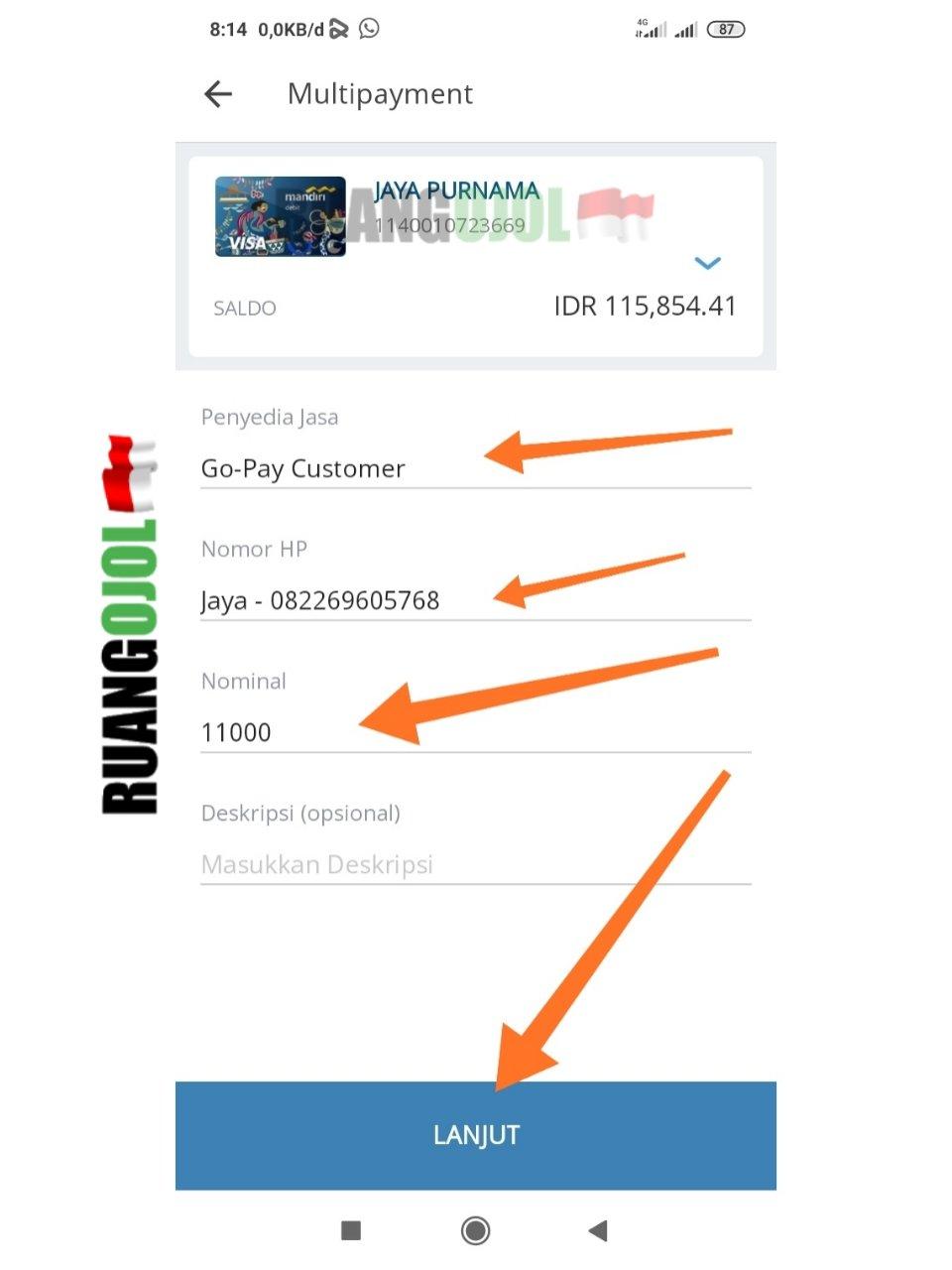Cara Isi Saldo Gopay Customer Via Livin By Mandiri Online