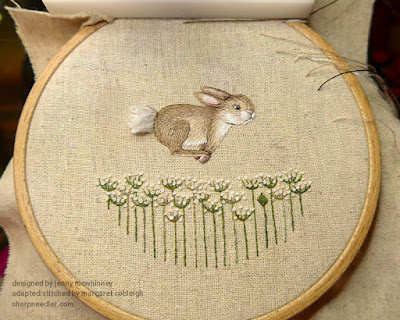 Embroidery complete on front of pinwheel hare from Jenny McWhinney's Queen Anne's Lace
