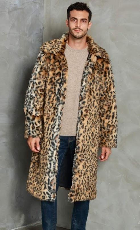 Leopard Faux Fur Coats Jackets For Men