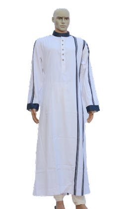 white jubbah with blue pattern