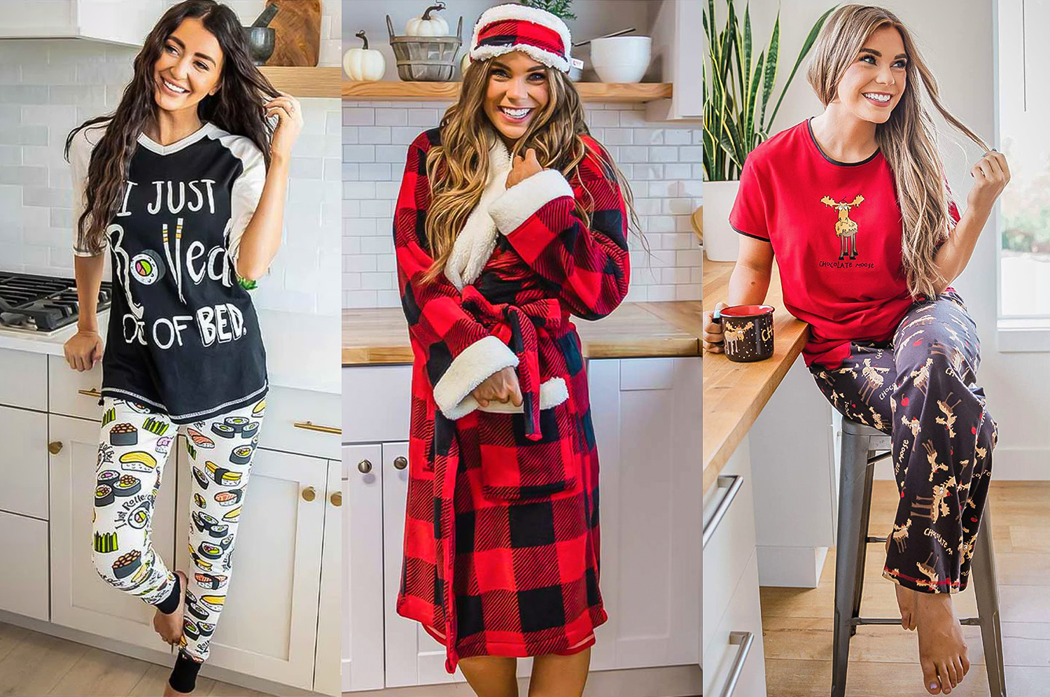 tryptych of three pictures of women wearing fun pajama sets