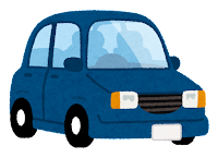 青の自動車のイラスト