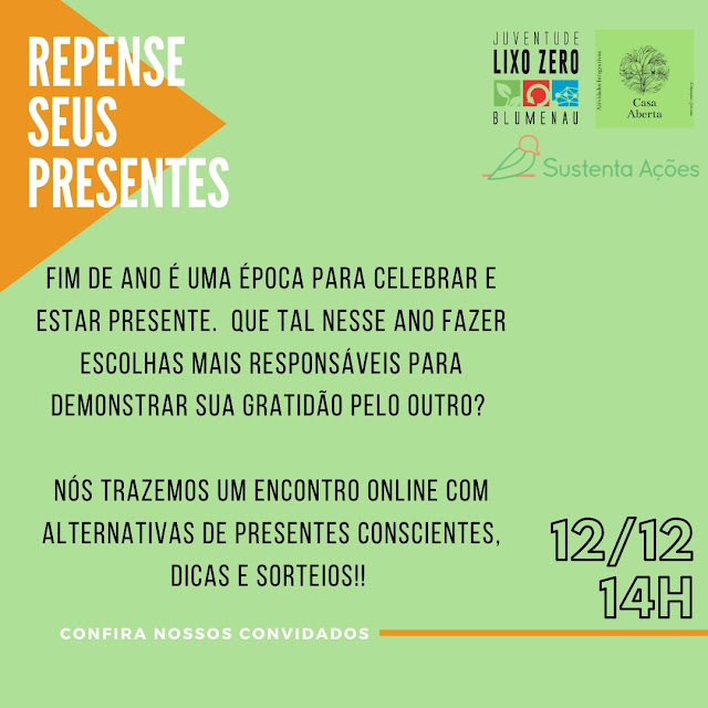 Cartaz convite do evento online sobre presentes