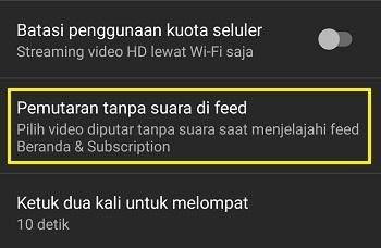 Setting playback di feeds YouTube