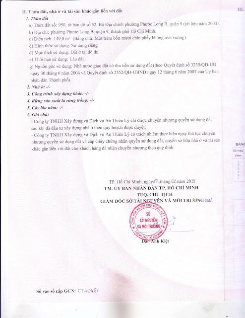 Giấy Chứng Nhận Quyền Sử Dụng Đất Dự Án An Thiên Lý Quận 9 (Mặt 2)