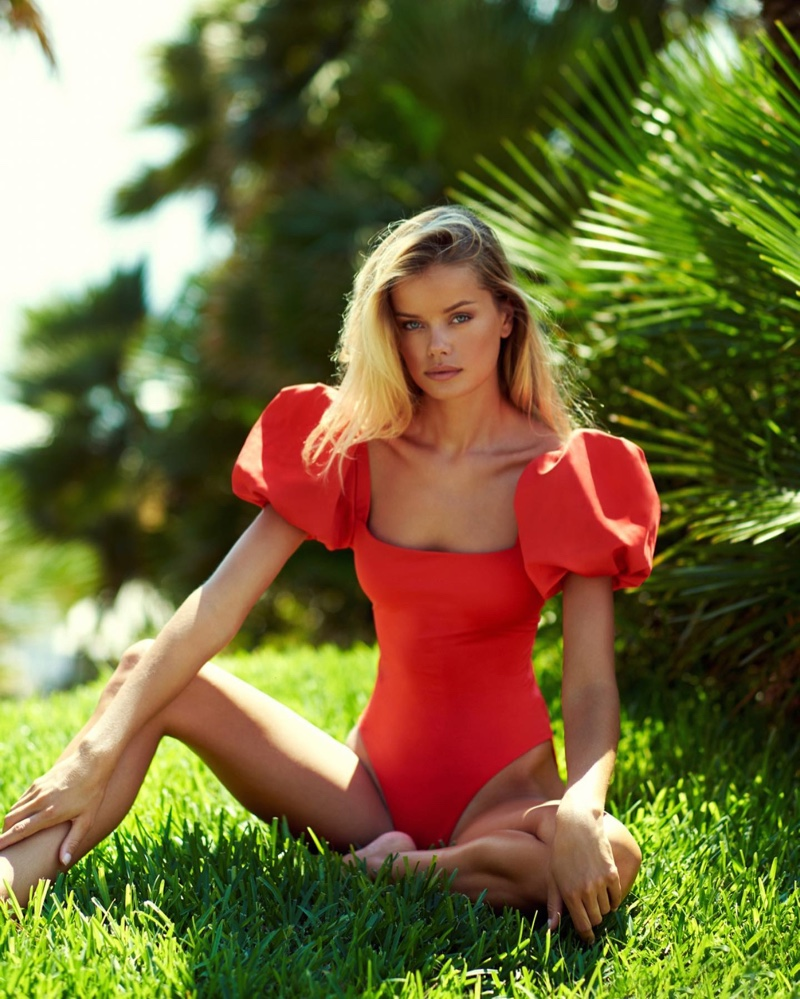 Looking red-hot, Frida Aasen fronts Agua Bendita summer 2021 swimsuit campaign.