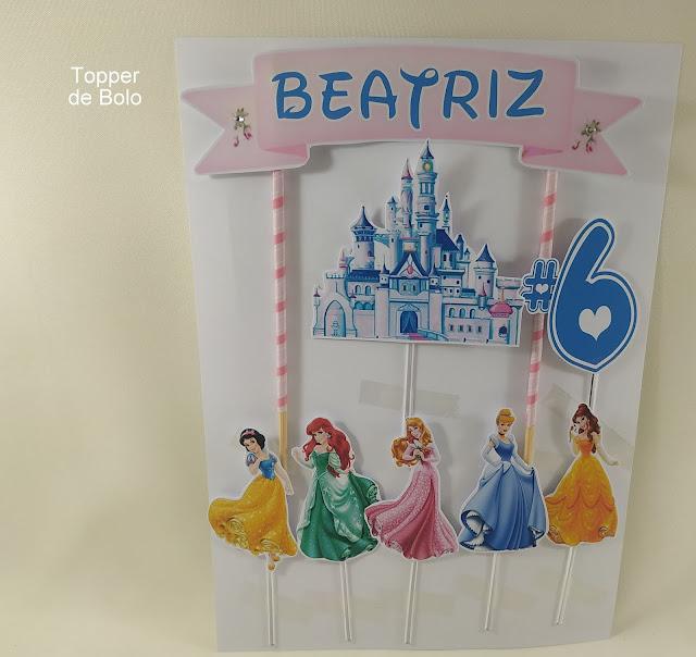 topo de bolo  As Princesas  Disney dicas e ideias para decoração de festa personalizados