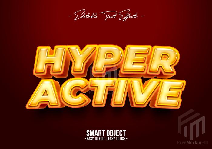 Hyper Active Text Style Effect Editable Psd Mockup