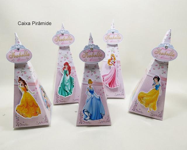 Caixa Pirâmide As Princesas  Disney dicas e ideias para decoração de festa personalizados