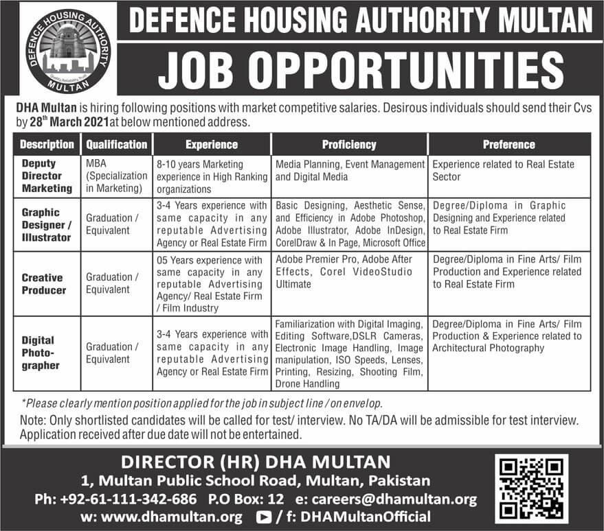 Defence Housing Authority DHA Multan Jobs 2021 advertisement
