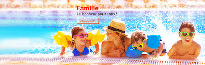 Famille: enfant en vacances à la piscine avec le club vacances Fram