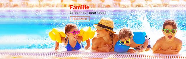 Famille: enfant en vacances à la piscine